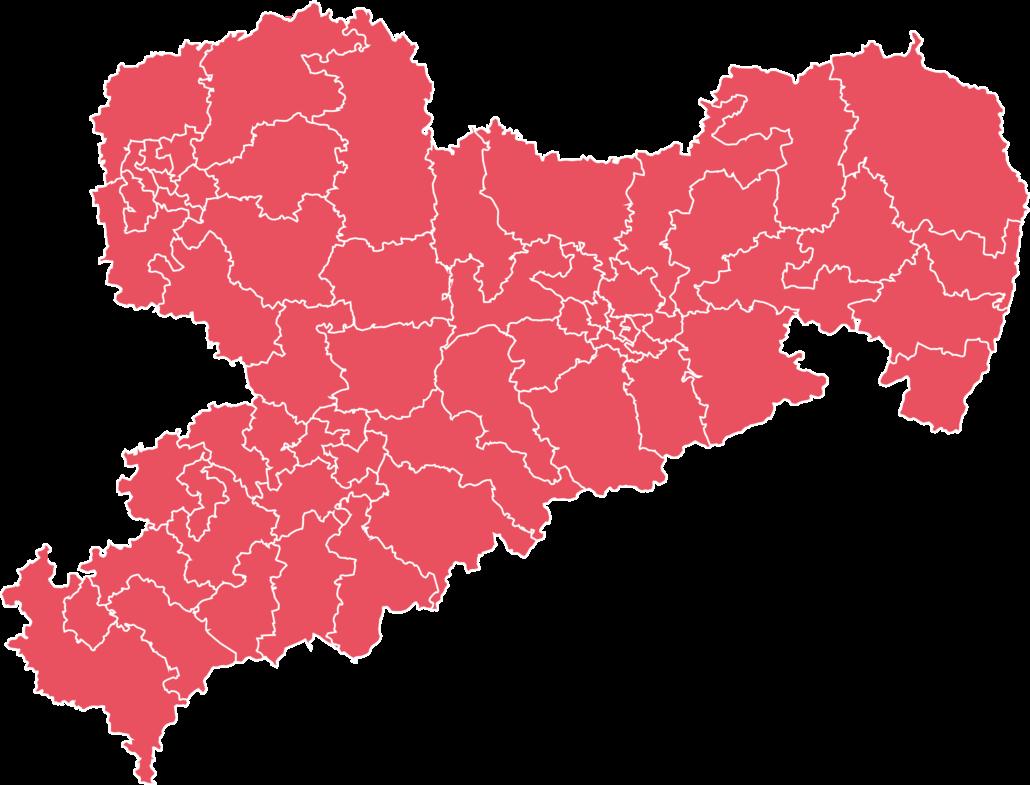 Karte von Sachsen mit Wahlkreisen